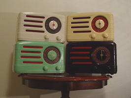 Four of the site owner`s collection of AWA Radiolettes from the late 1940`s