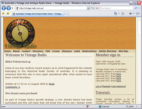 The third Vintage Radio site