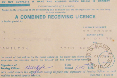 Listener's licence from 1974, the last year that such licences were issued. The owner of this licence lived in Hamilton, Victoria