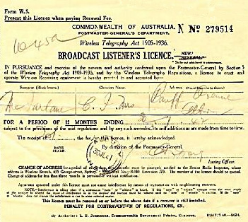 Listener's licence from 1948, before television arrived everyone was required to purchase a licence for each receiver they owned. The owner of this licence lived in Audley, New South Wales