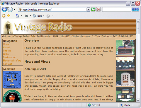 The first Vintage Radio site