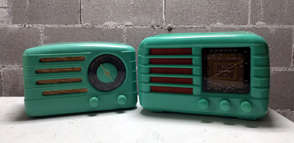 The AWA Radiolette 500M and the AWA Radiola 510M - Rarely do these radios come together in this turquoise colour.